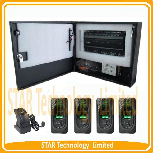 Free shipping! four door fingerprint access control system with FOUR piece FR1200 fingerprint reader