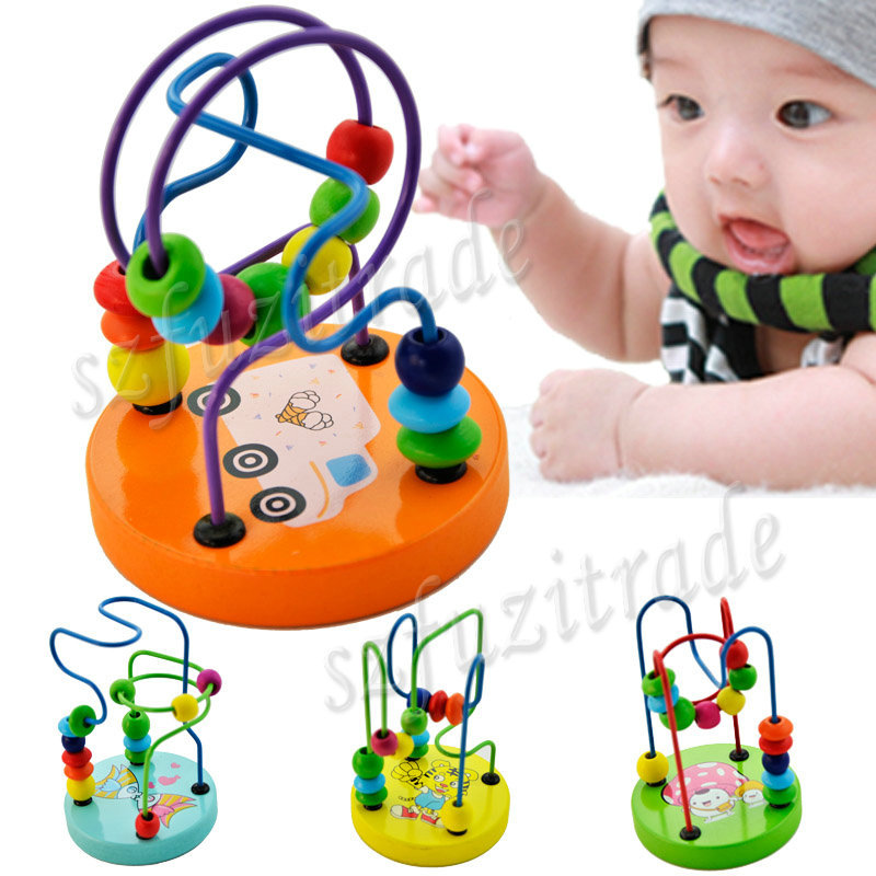 Retro Classic Baby Toy Comfortable Polished Smooth Beads Move Round Line, Wooden Activity Cube Roller Coaster Bead OAA00052(China (Mainland))
