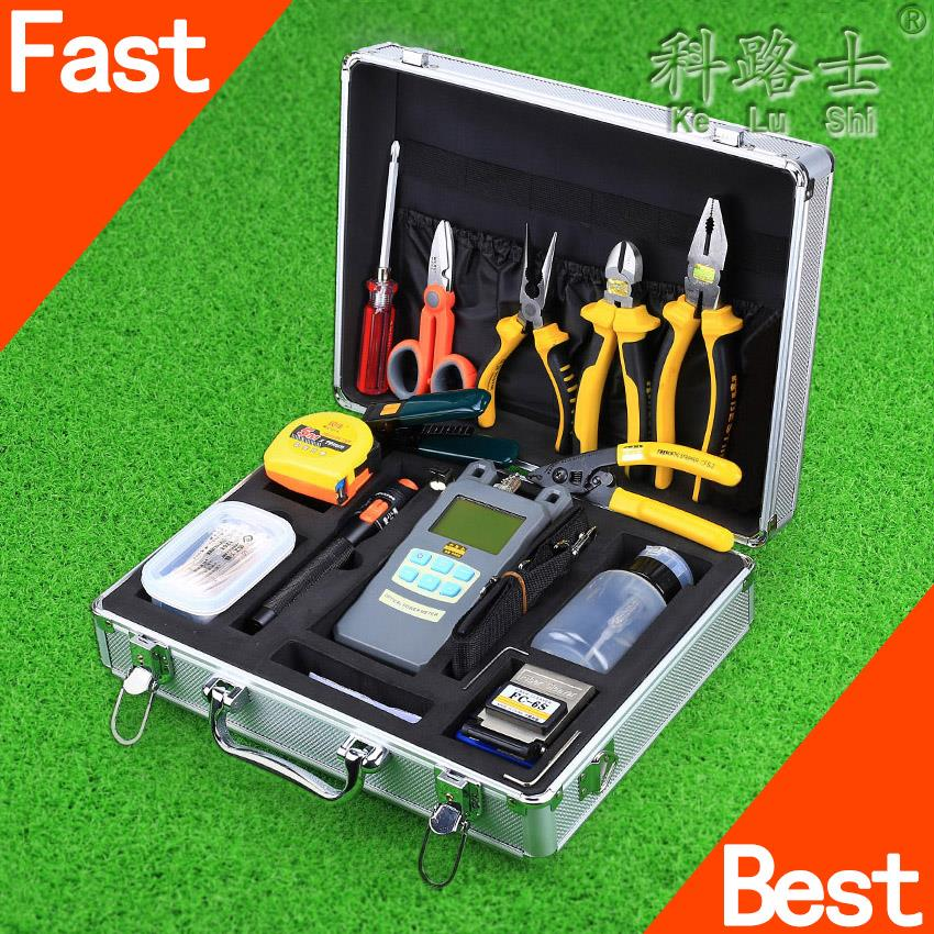 29 IN 1 FTTH Cold Splice Fiber Tool Kit FC-6S Fiber Cleaver Optical Power Meter 10mW Visual Fault Locator Tester Alcohol Bottles(China (Mainland))