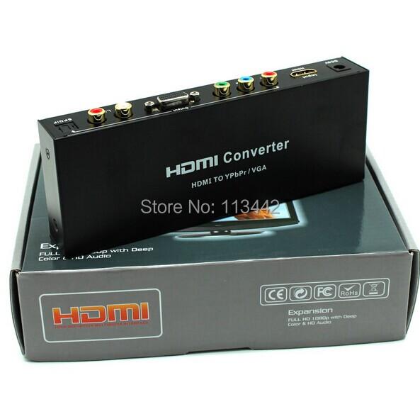 Фото HDMI OEM HDMI/vga Ypbpr rgb/spdif R/L 5.1 HV001 hdv m618 mini hdmi to vga ypbpr spdif audio converter