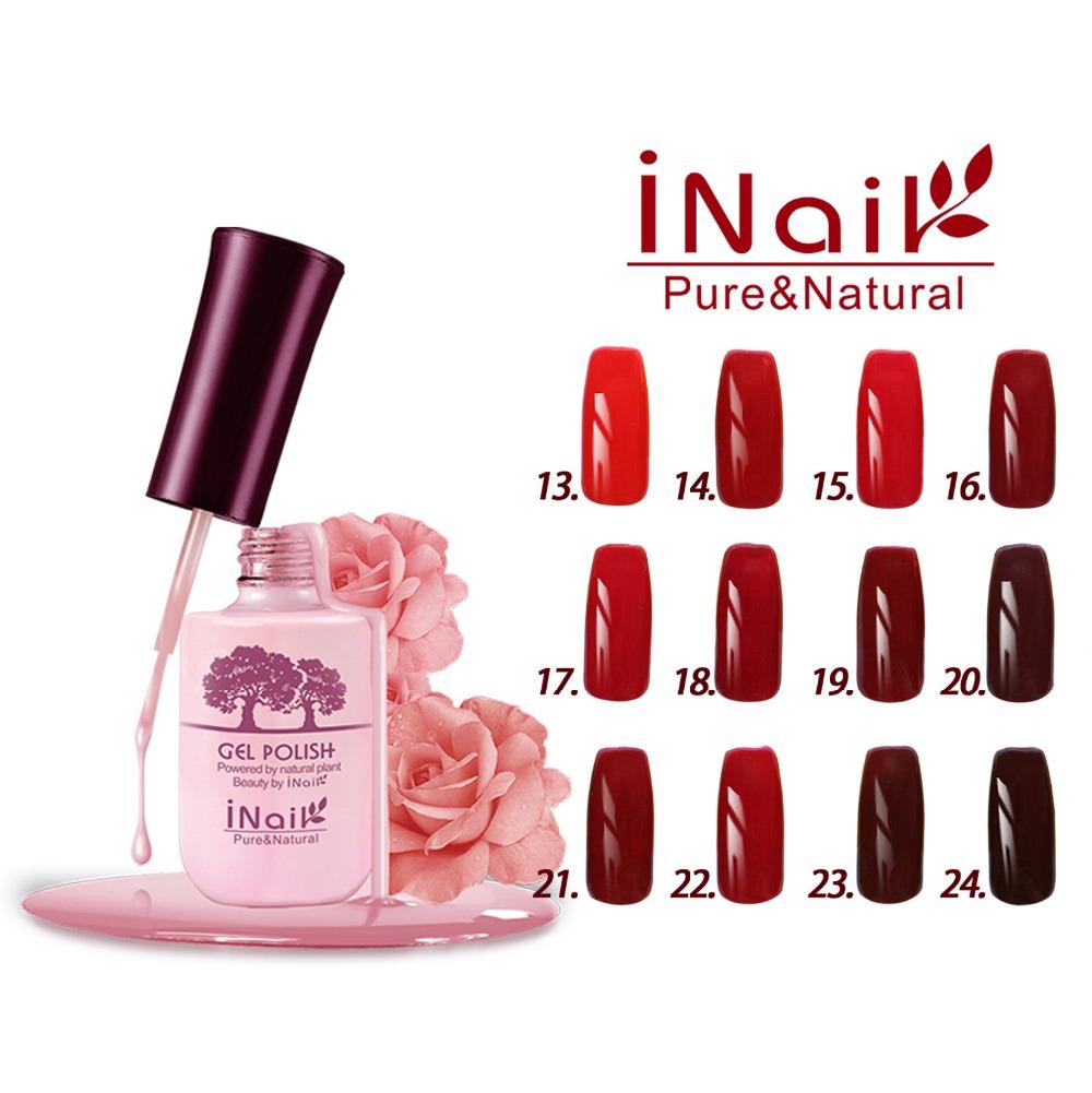 Free shipping! Red Wine Series! 6pcs Inail Gel Nail Polish 15ml 12 colors for choice.(China (Mainland))