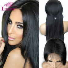 Unprocessed Silky Straight Glueless Full Lace Human Hair Wig Virgin Brazilian Lace Front Wig With Baby Hair Around Bleached Knot(China (Mainland))