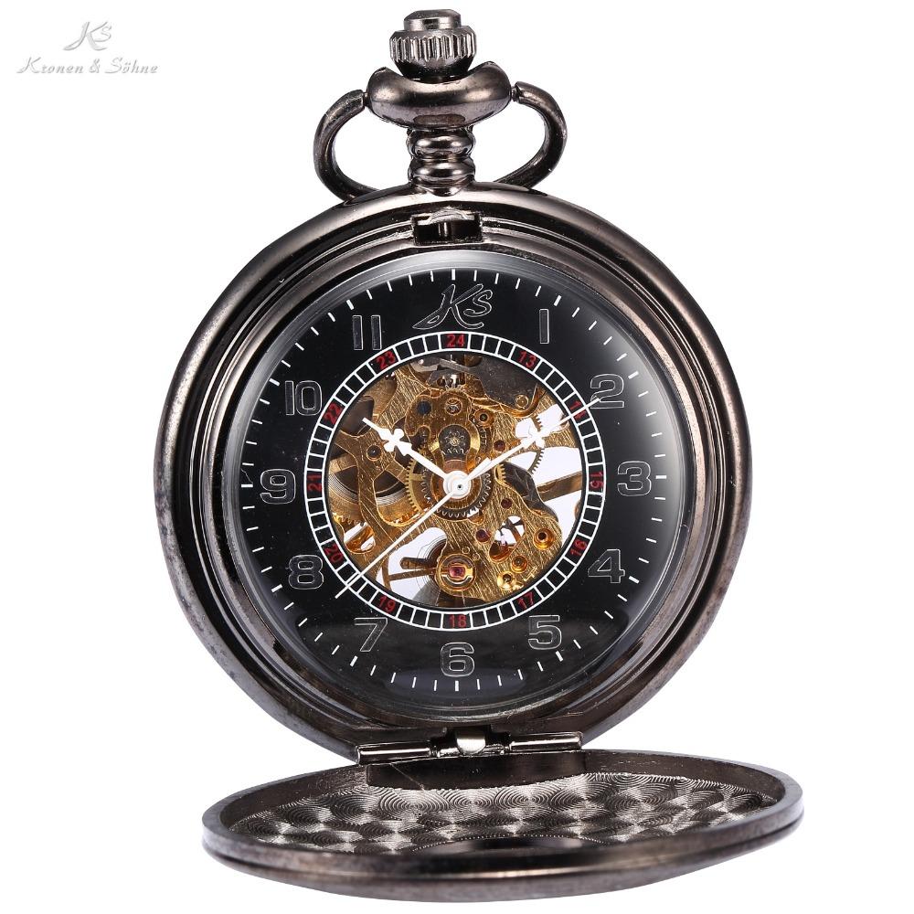 Hot KS Brand Pocket Watch Classic Hand Wind Relogio De Bolso Antique Retro Pendant Classic Steel Mechanical Chain Watch / KSP004(China (Mainland))