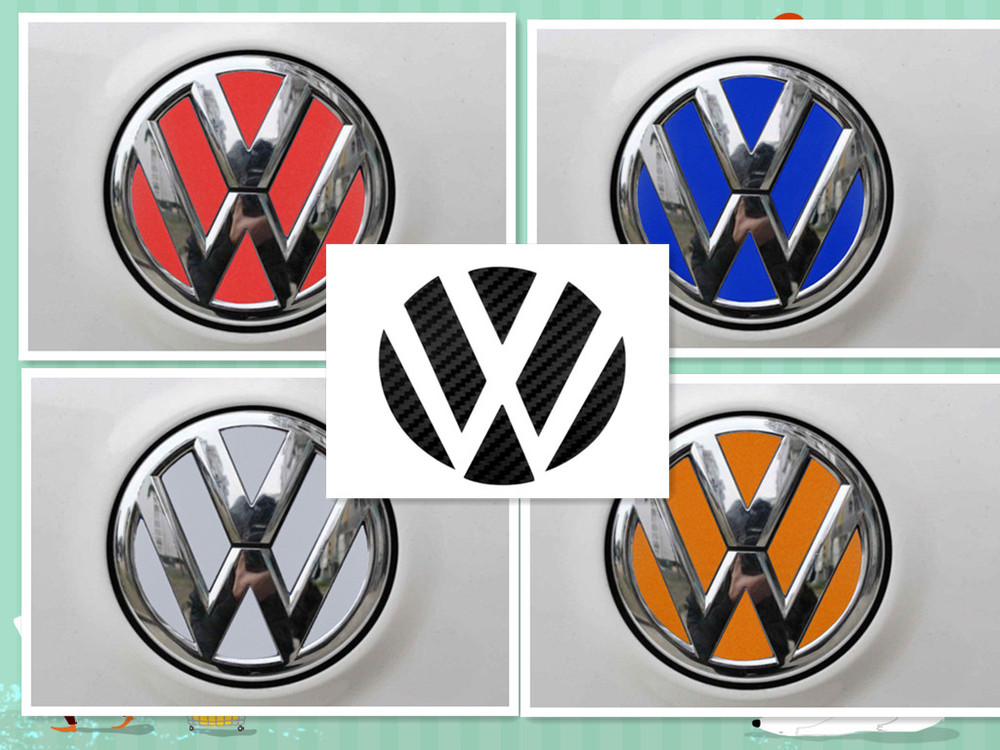 2 vw volkswagen logo kohlefaser reflektierende folie. Black Bedroom Furniture Sets. Home Design Ideas