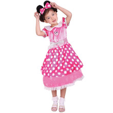 7 Sets/lot Free Shipping Halloween Masquerade Party Princess Fancy Dress Pink Kids Girls Minnie Costume Children Cosplay Clothes