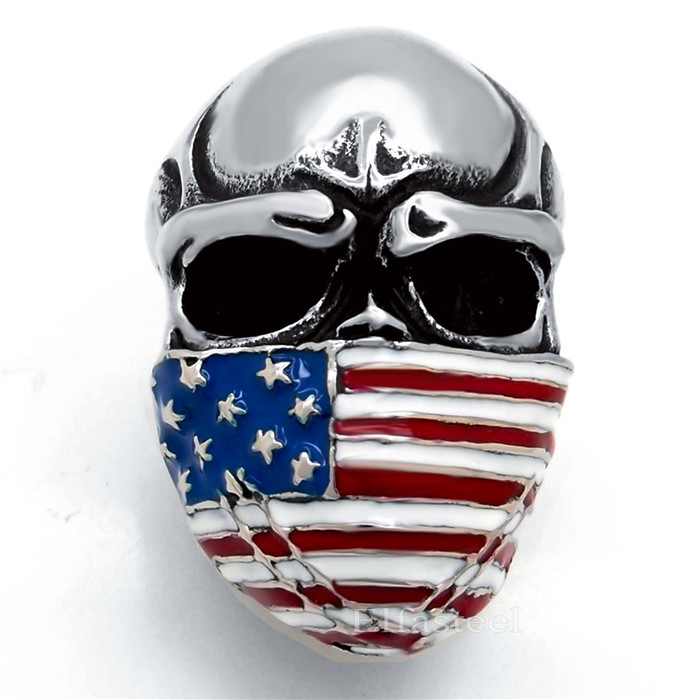 Mens Boys Large American Flag Mask Skull New Fashion 316L Stainless Steel Biker Ring Gift Jewelry Us size 8-15(China (Mainland))
