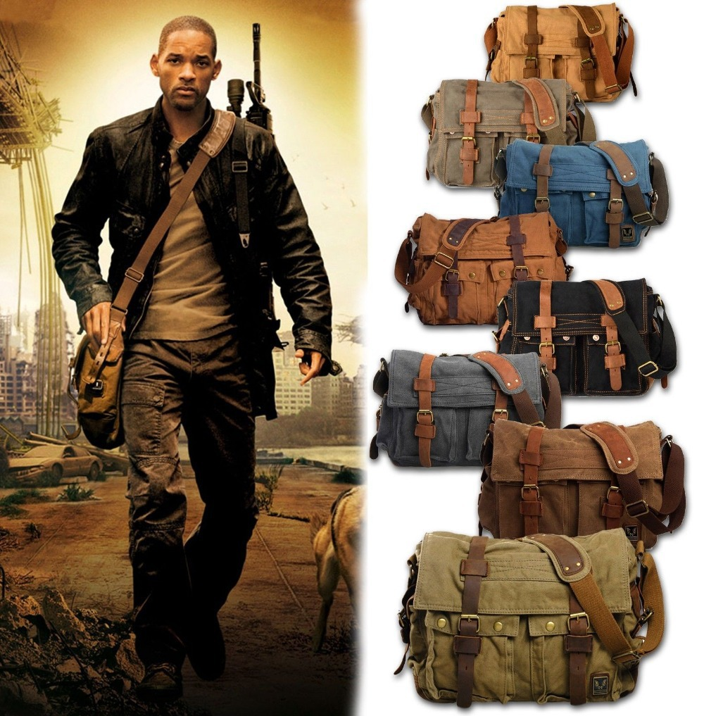 2015 HOT Canvas crossbody bag men I AM LEGEND Will Smith military army vintage Canvas messenger bags laptop canvas satchel men(China (Mainland))