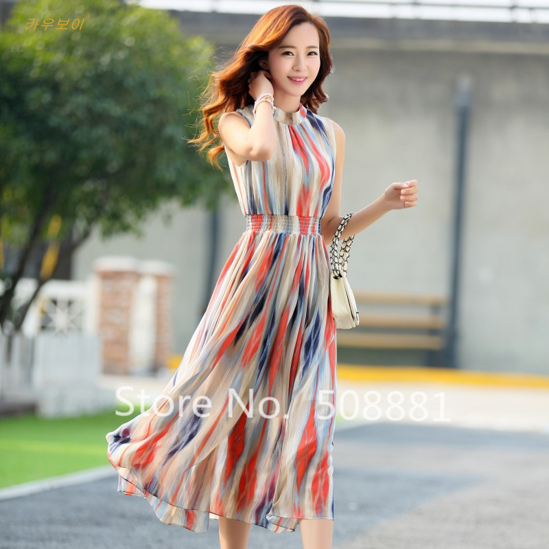 Beach dress Women 2016 New Summer Chiffon Striped Bohemian ...