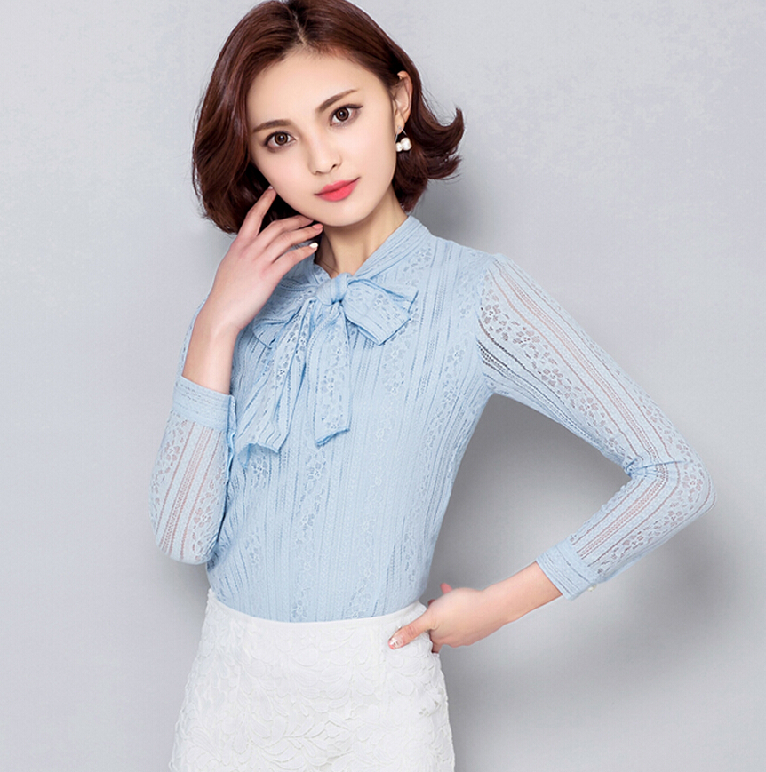 Free Shipping China Summer Women Lace Shirts Blouses Long Sleeve Bow Fashion White Pink Blue Cany Color Female Solid Designs Blo(China (Mainland))