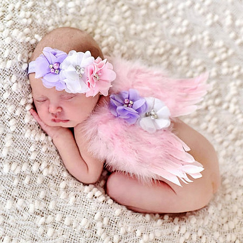 Handmade lace Headband Artistic Photo Shoot Props Feather Angel Wings Baby Photography Props(China (Mainland))