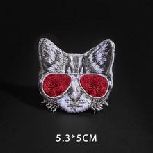 Fino Lobo leopardo tela de araña parches negro Animal Pokers Rose Wolf gato apliques hierro en Bala diente ropa Jeans insignias(China)