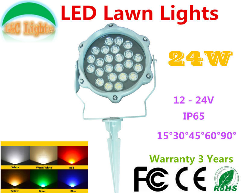 DC 24V 24W Single color LED Lawn Lights Red Green Blue Yellow White LED Flood Lights IP65 Outdoor LED Garden Spotlights CE RoHS<br><br>Aliexpress