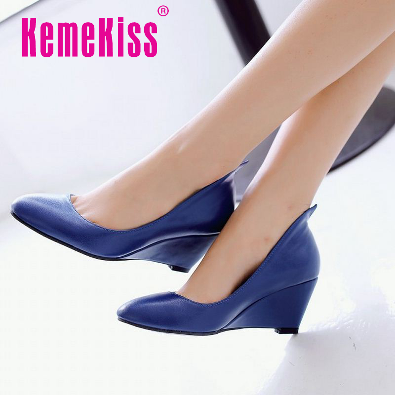 women wedges shoes spring ladies new arrival fashion quality round toe footwear party fashion heels shoes size 34-43 P22982<br><br>Aliexpress