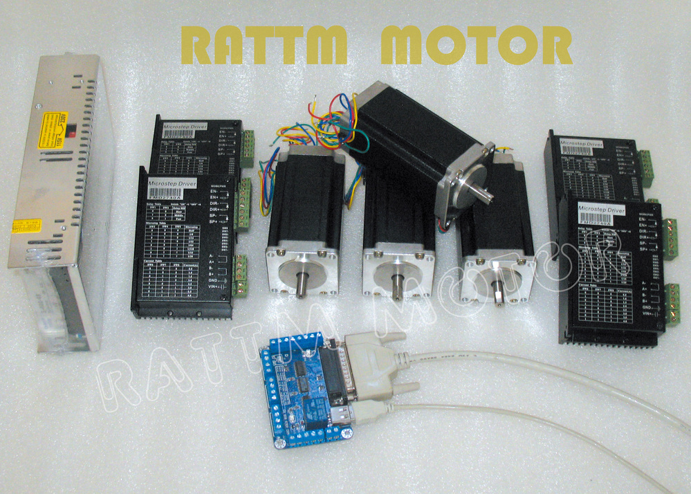 4 axis cnc controller kit 4pcs nema23 dual shaft cnc for Stepper motor kits cnc