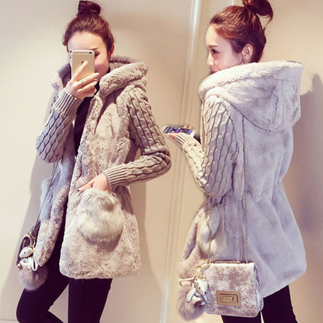 2016 women's slim fashion knitted patchwork plush thickening with a hood sweater outerwear female