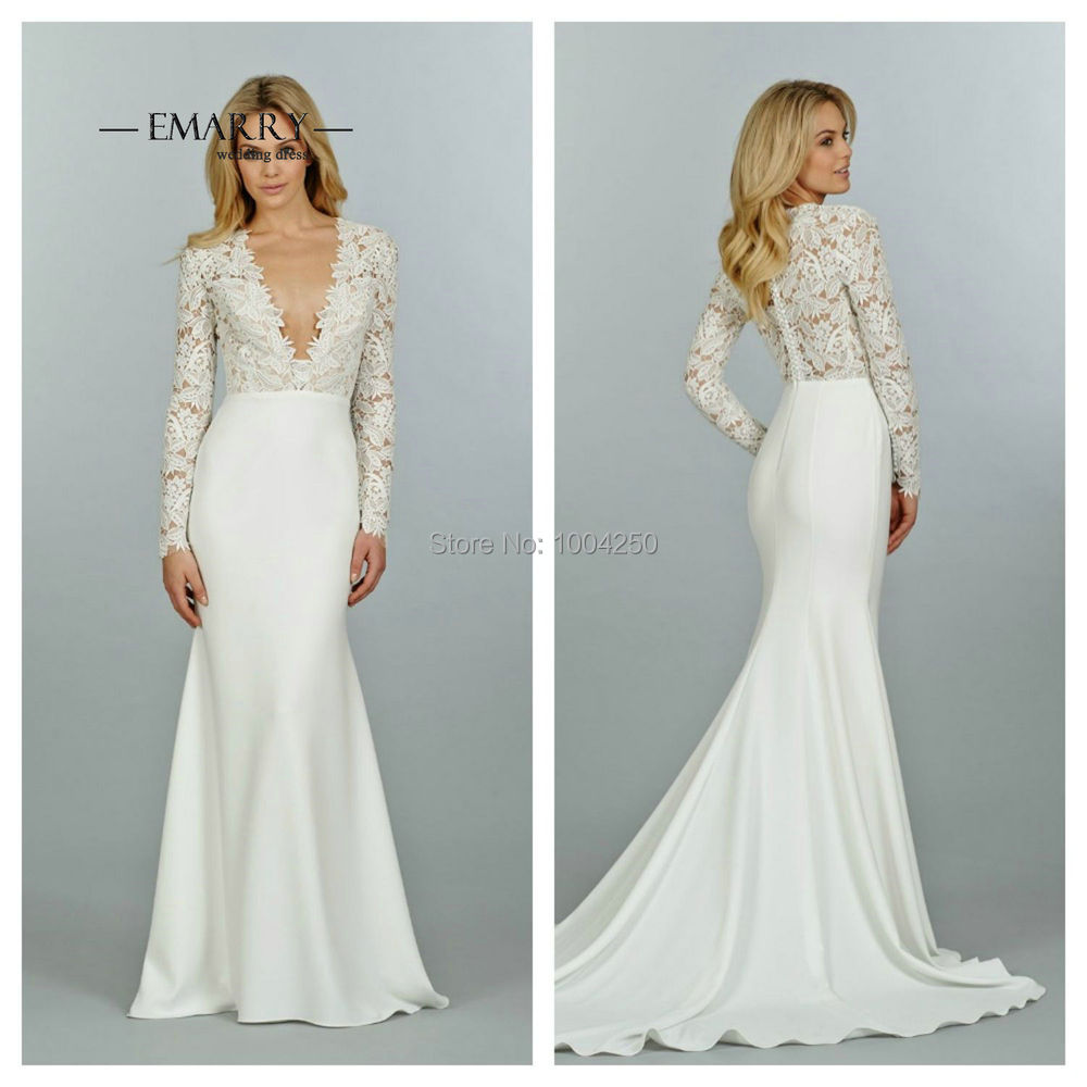 V Neck Wedding Dresses With Sleeves : Wedding dresses sexy v neck lace appliques long sleeves bridal gown