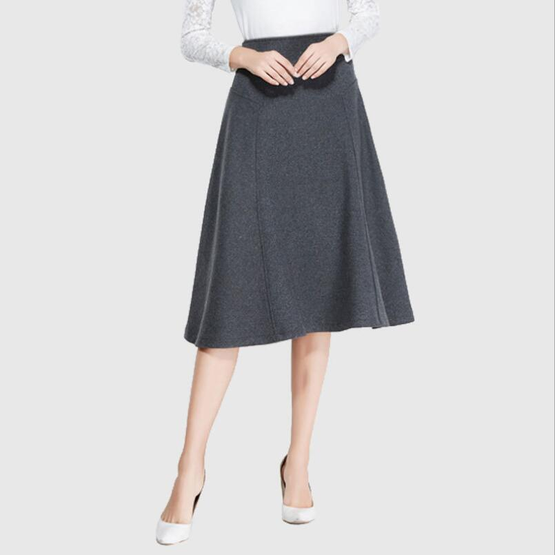 Original 2016 New High end Womenu0026#39;s Formal Woolen Skirt Casual Solid A Line Woolen Skirts High ...