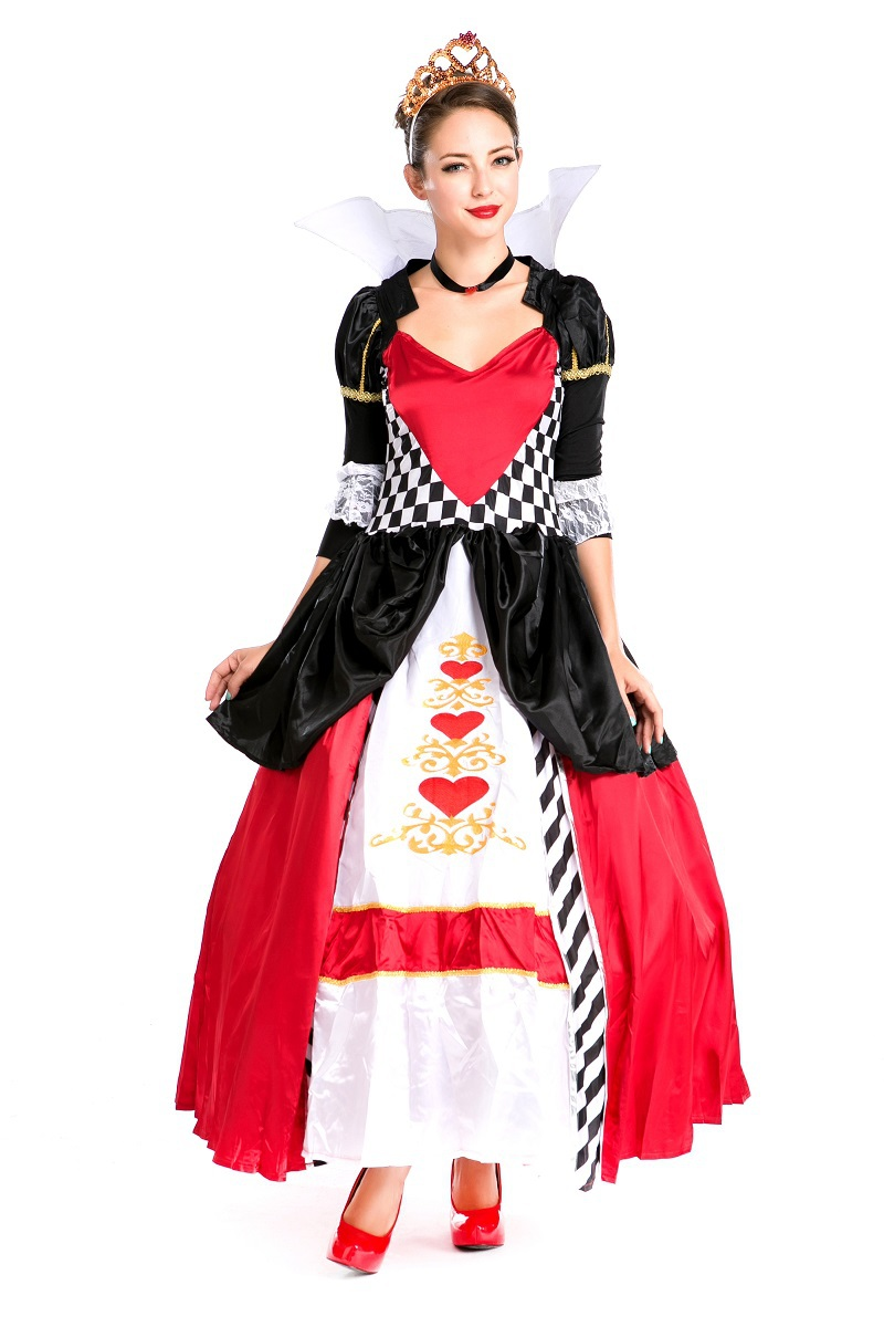 Ladies Queen Of Red Heart Fancy Dresses Adult Fairy Tales Cosplay Long Gown Uniform Halloween Themed Party Costume For Women New(China (Mainland))