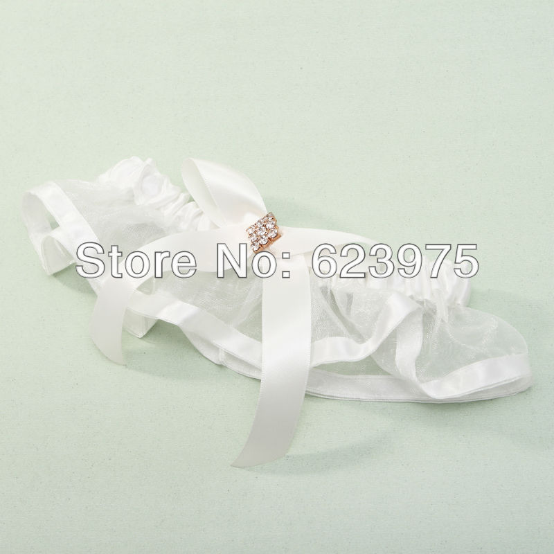 White Organza and Satin in Square Rhinestone and Bowknot Wedding Party Favor Bridal Garter (Set of 4)(China (Mainland))