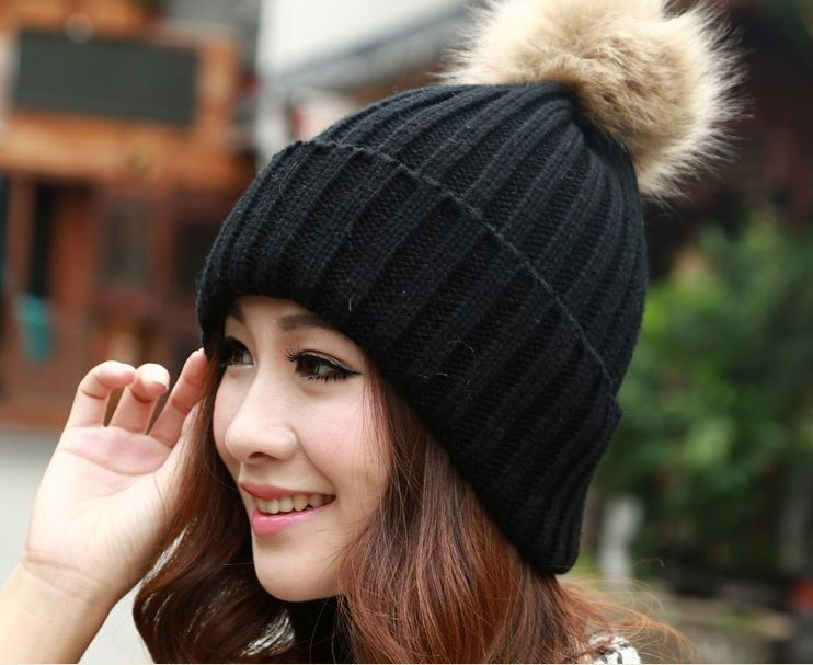 Vogue Women's Candy Beanie Knitted Caps Crochet Hats Rabbit Fur Pompons Curling Ear Protect Winter Cute Casual Cap Women Beanies(China (Mainland))