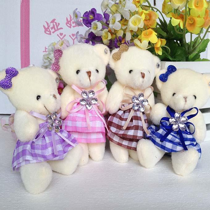 Mobile charm accessory teddy bear girls toys doll bouquets flower bear material mini model plush&stuff promotional gift bear(China (Mainland))