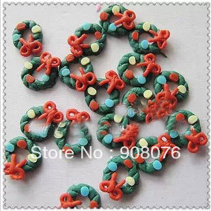 Best Selling! Christmas Green Flower Garland Polymer Clay Nail Decoration Fimo Nail Art 40 pcs/lot+Free Shipping(China (Mainland))