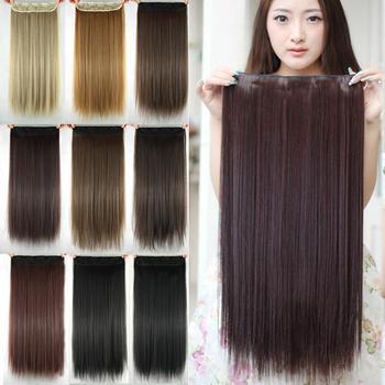 Женщины Наращивание Волос Черный Коричневый Блондинка Естественная Прямая 60 см Длинный Высокий Tempreture Синтетические Женщины Волосы Расширение Парики