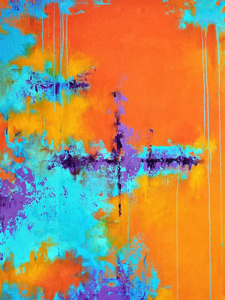 Artist Design Beautiful Colors Orange And Blue Color Decor