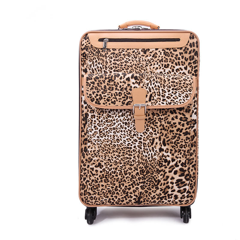 Wholesale!Female 18 20 22 24inches pu leather travel luggage sets,girl fashion leopard trolley luggage on universal wheels,gifts(China (Mainland))
