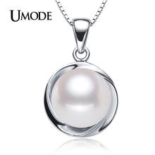 UMODE Silver Plated Natural Pearl Pendant Necklaces For Women's Jewelry With 9-10mm Genuine Freshwater Pearls AN0001