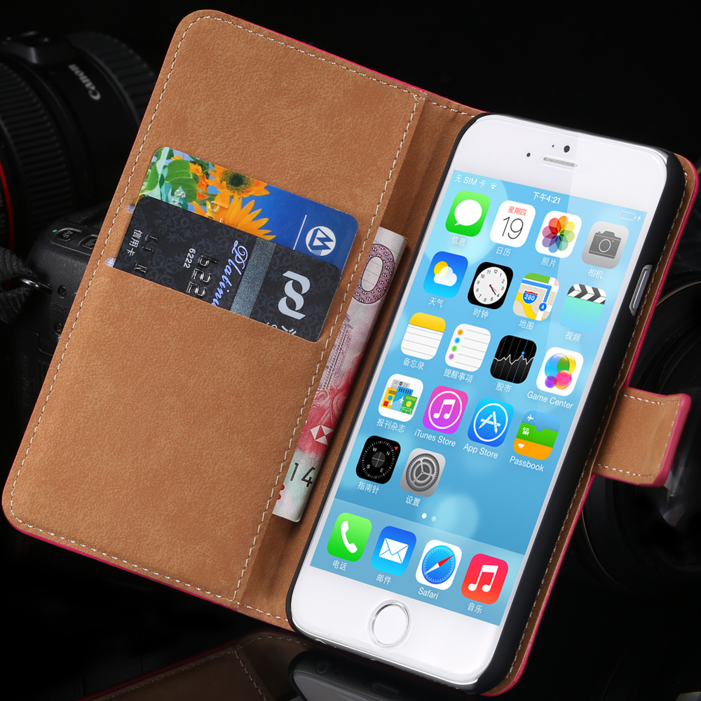 Luxury Wallet Flip Case for iphone 6 6s 4.7/Plus 5.5 Genuine Leather Retro Stand Elegant Bags Pouch Cellphone Cover for iphone6s(China (Mainland))
