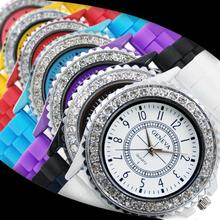 2015 New Retro Geneva Crystal Watch Jelly Gel Silicon Girl Women's Rhinestone Quartz Wrist Watch Candy Colors Women Watches