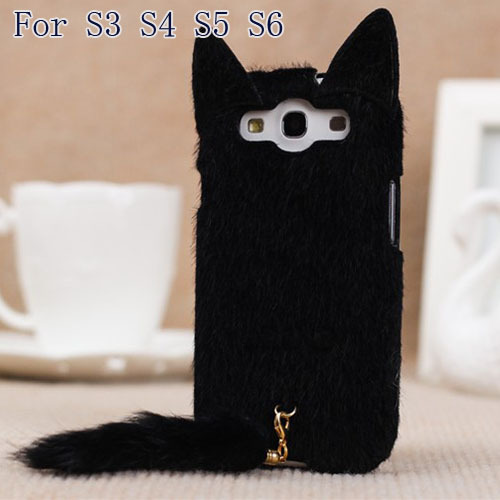 Korean 3D Cute Plush S3 S4 S5 S6 Cat Ear Tail Case Cover For Samsung Galaxy S3 i9300 S4 S5 S6 Black White Pink Rose Colors Case(China (Mainland))