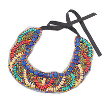 Bohemia Handmade Embroidery Beads Statement Necklace Pendant Women Ribbon Summer Style Jewelry Colar Collar