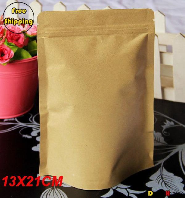 Free Shipping Kraft Paper Self-Stand Self-Sealing Food Packaging Bags,13*21+4cm,100pcs/lot(China (Mainland))