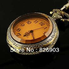 New 10pcs Vintage Retro Pocket Watch for Women Bronze Owl Hawk Shaped Pendant Necklace Watch for Women Children Free Shipping(China (Mainland))