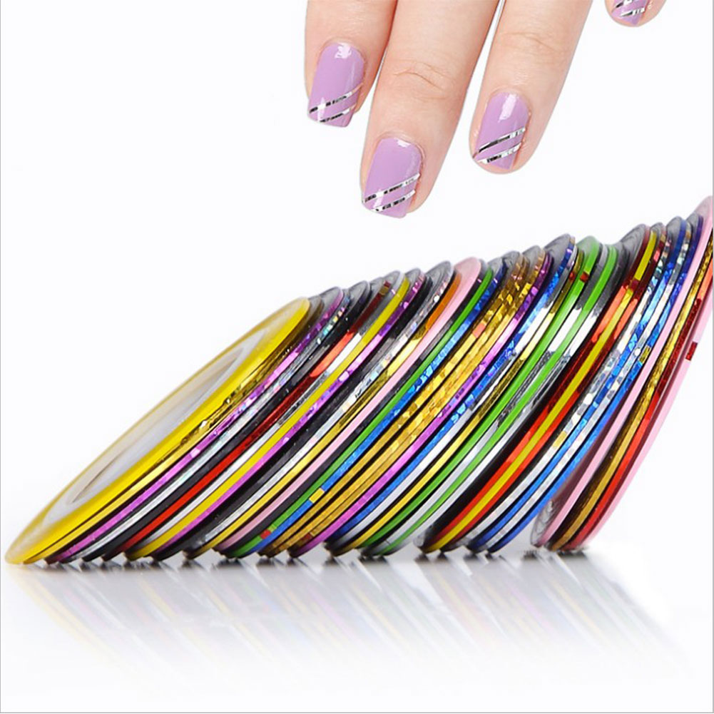 Fashion Charm Pro 30Pcs Mixed Colors Rolls Nail Art Striping Tape Line Tips Decoration Decal Nail Stickers(China (Mainland))