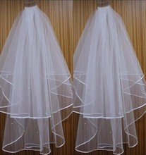 White Ivory Simple 2016 Wedding Accessories Tulle Bridal Veil Two Layers Pencil Edge In Stock Wholesale()