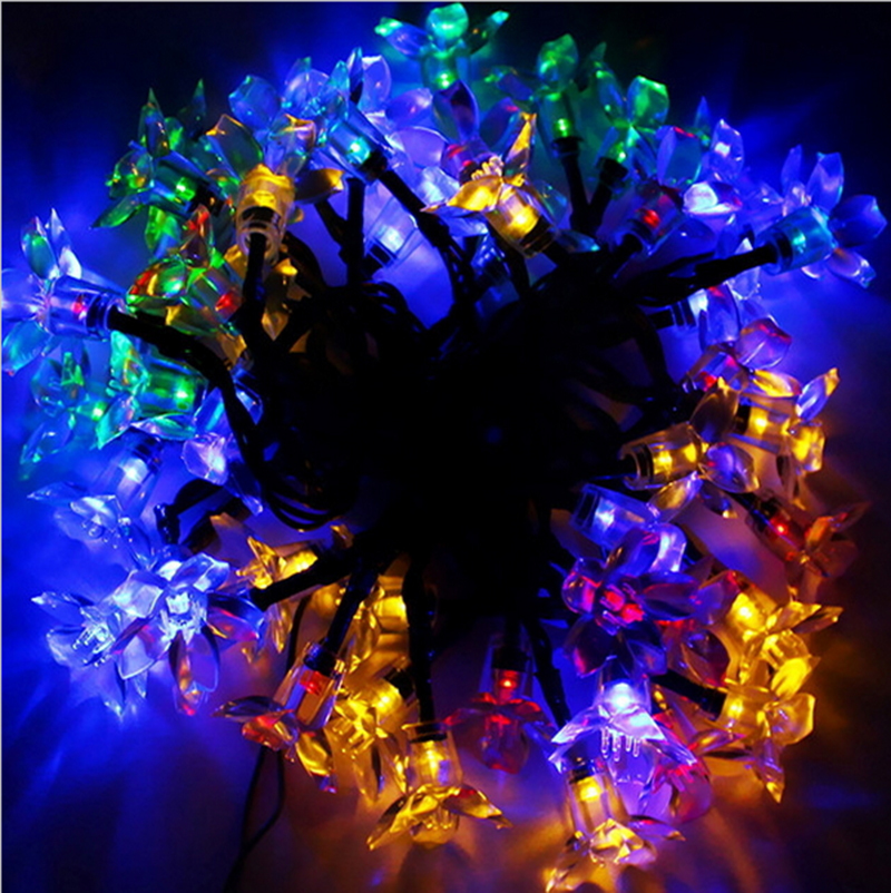 Holiday Party String Lights : 50 LED Light Solar Power Lights Flower LED String Lights Solar Lamps Garden Holiday Party ...