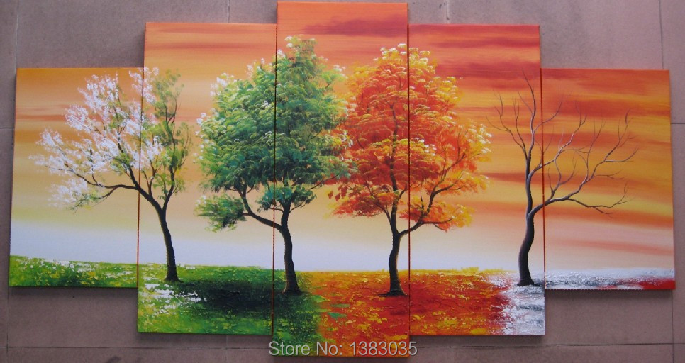 Hand Painted Abstract Oil 4 Season Tree Painting 5 Panel Canvas Art Modern Pictures Set Wall Decorations Living Room Home - Fashion Decoration store