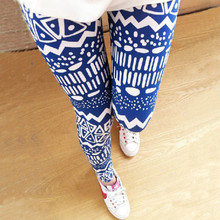Hot Sell DS26 trendy fashion irregular printed leggings and comfortable cotton stretch nine minutes of pants(China (Mainland))