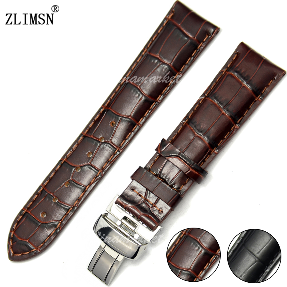 20mm Black Brown Light Crocodile Grain Genuine leather Watch Band strap for T019<br><br>Aliexpress
