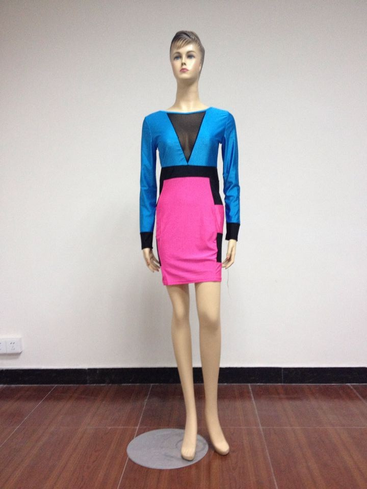2015 summer Women urban outfitters Sexy club Dress long sleeve Bodycon Bandage dress for party plus size blue(China (Mainland))