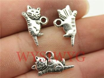 WYSIWYG 6pcs 20*12mm antique silver cute cat charms