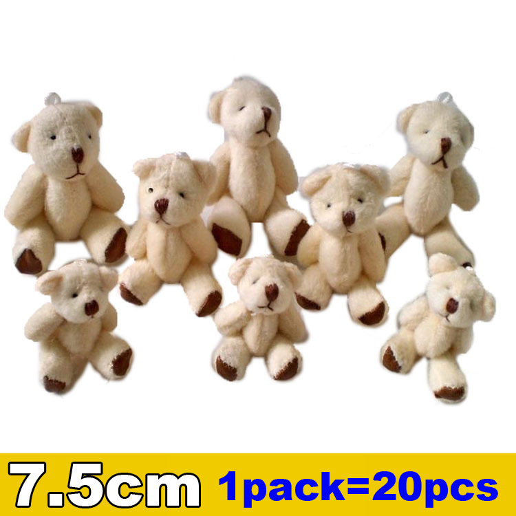 1pack/20pcs 7.5cm Mini Joint Bear Plush toys Wedding gifts Kids Cartoon toys Christmas gifts Couple Gifts Wholesale Hot sales(China (Mainland))