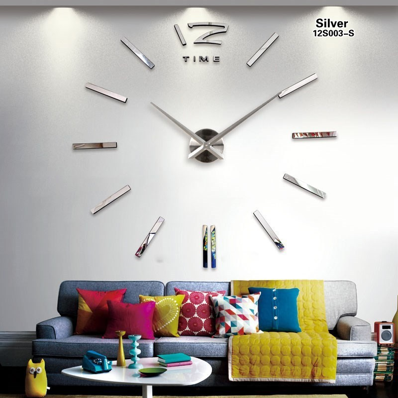 Home decorations big silverl wall clock Modern design large decorative designer wall sticker watch wall hours W003G(China (Mainland))