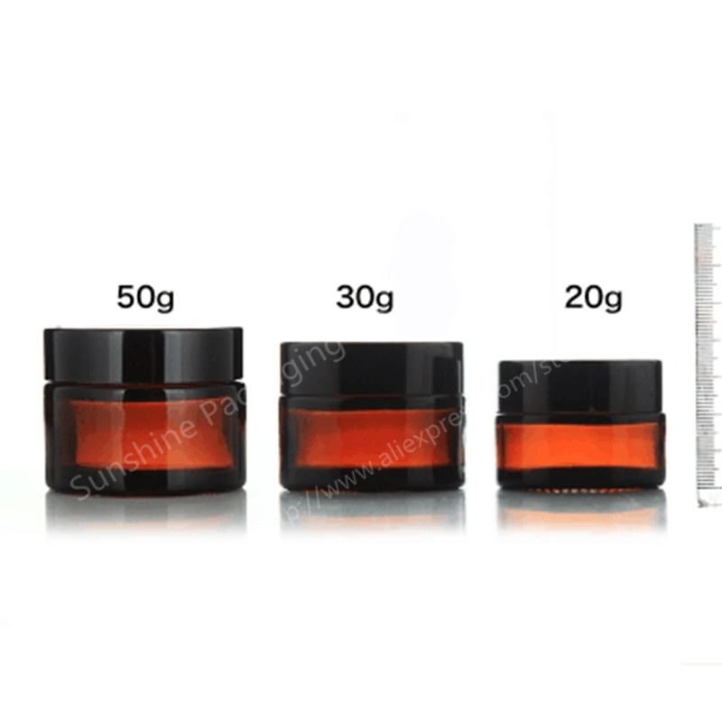 3 x 50g amber glass jars, 50ml cream skin care bottles, dark cosmetic containers - Sunshine Packaging Co., Ltd store