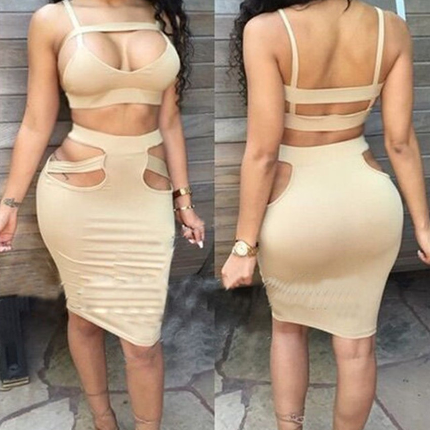 Summer Dress 2016 Sexy Solid Black Party Club Dresses For Women Fashion Halter Backless 2 Piece Bandage Dress Clubwear
