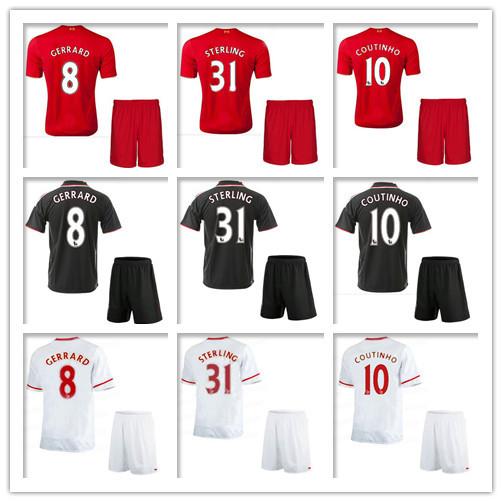 2015 New Liverpooles Good Quality Kids Soccer Jerseys 15 16 Children Henderson COUTINHO LALLANA Kits Uniforms Football Suits(China (Mainland))