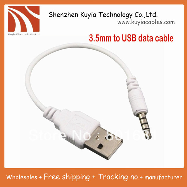 Good quality 3.5mm to USB data Cable USB DATA Sync Adapter Cable for iPod Shuffle 2nd Gen mp3 mp4 phone